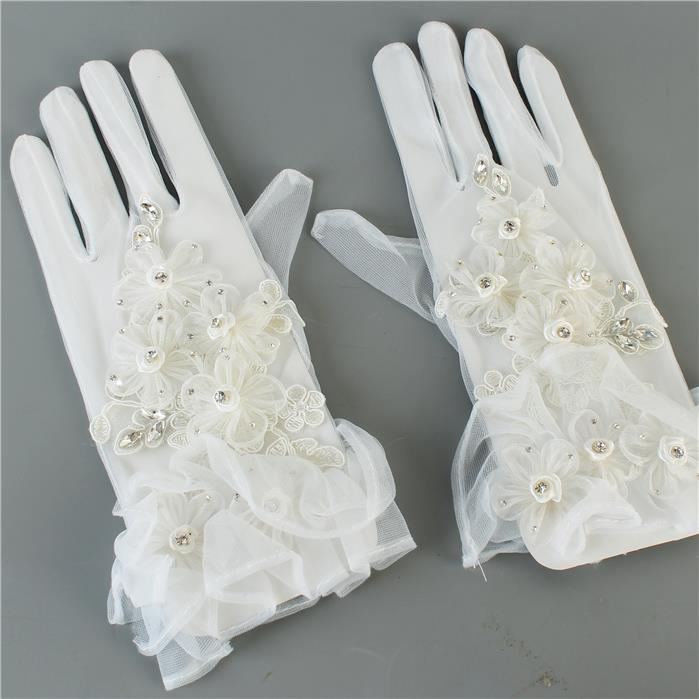 "Beautiful Satin "" Uninterrupted White"" Gloves with Crystal Stones (High End)"