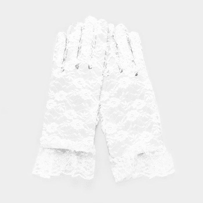 Beautiful White Rose Dressy Lace Floral Gloves