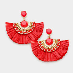Beautiful Round GO RED Bead Raffia Tassel Fringe Earrings