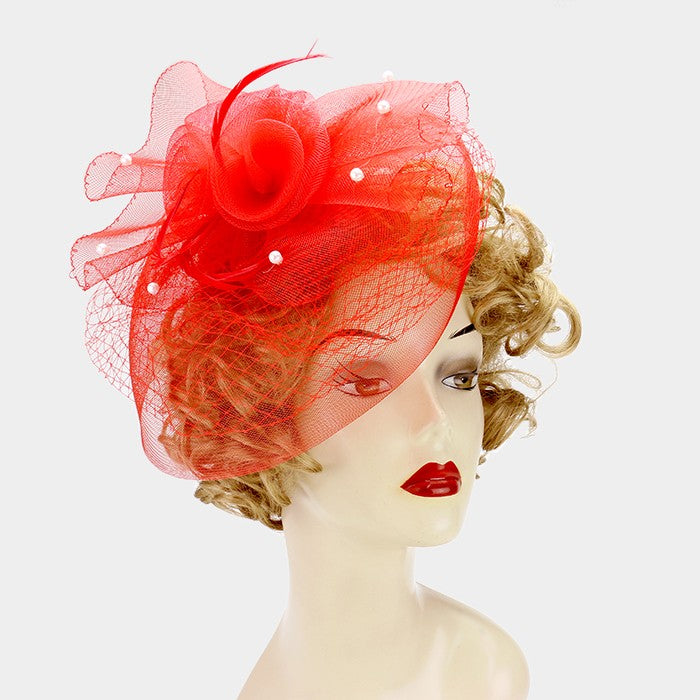 Beautiful GO RED Rose Pearl Fascinator