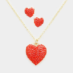 Beautiful GO RED Pave Crystal Rhinestone Heart Pendant Necklace Set