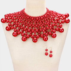 Beautiful GO RED Pearl Armor Bib Choker Necklace Set (GO RED Collection NEW)