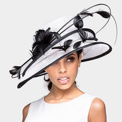 Beautiful & High End Lily Feather Flower Double Layered Sinamay Hat