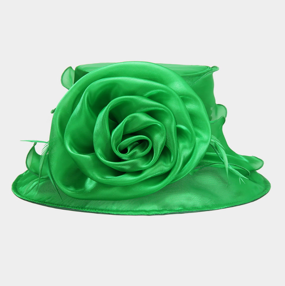 Beautiful Emerald Green Rose Hat, New
