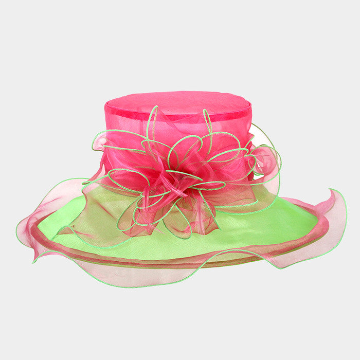 Beautiful Pink & Green AKA Organza Hat (Back in Stock)
