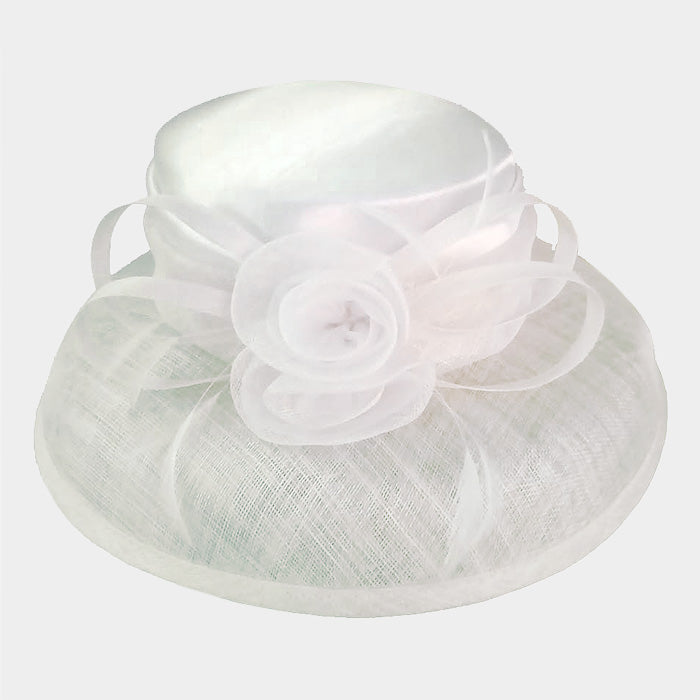 "Beautiful ""High End"" White Rose Sinamay Hat, New"