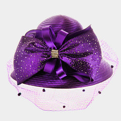 Beautiful Front Netting Satin Braid Bow Hat (NEW)