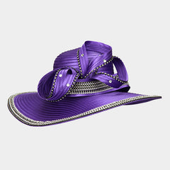 Beautiful Violet or Red Crystal Bow Brim Hat, New 2019