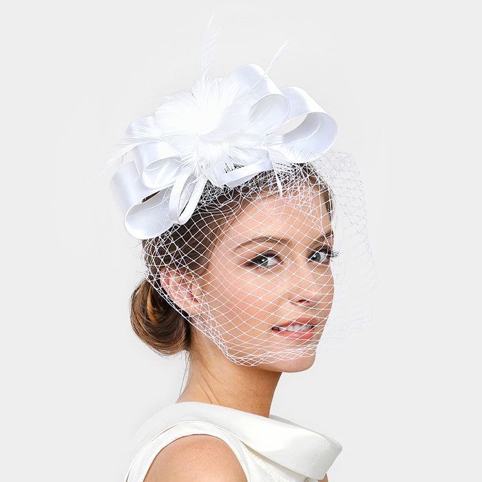 Beautiful Satin Bow Feather Fascinator