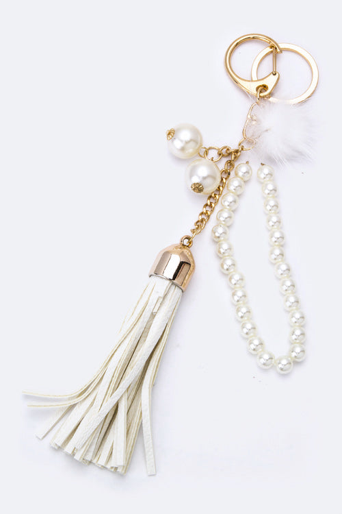 Beautiful White Pearl Pom Pom Key Chain (New)