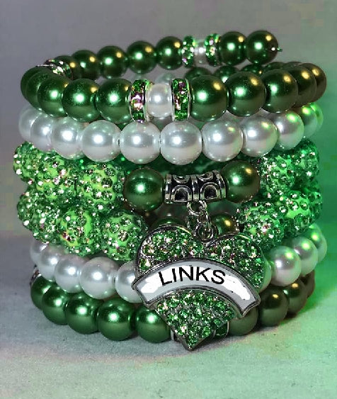 Beautiful Emerald Pearl LINKS Stacked Bracelets (NEW)