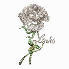 "Beautiful LINKS Austrian Crystal Rose Brooch Pin (New, 2019) ""High End"""