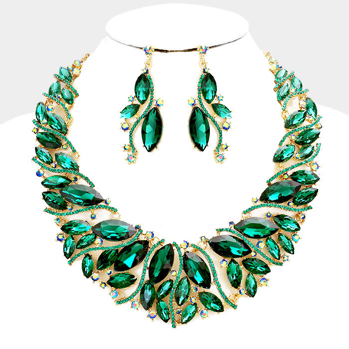 Beautiful Emerald Crystal Marquise Evening Necklace Set (LINKS, AKA)