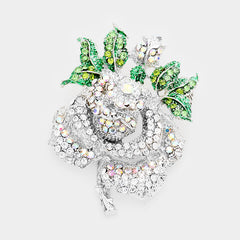Beautiful Crystal Pave Rose Pin