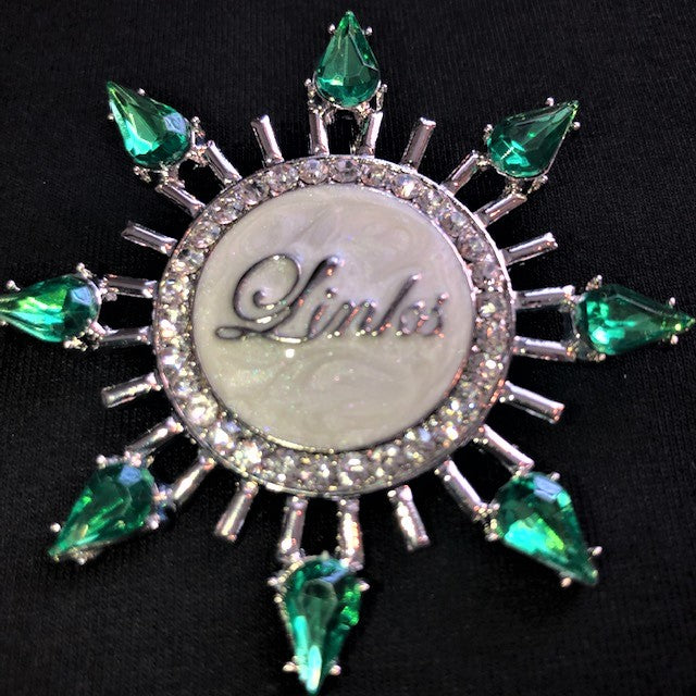 Beautiful Emerald Starburst Necklace & Pin for LINKS, NEW, 2019