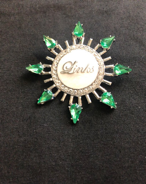 Beautiful Emerald Starburst Necklace & Pin for LINKS (NEW)