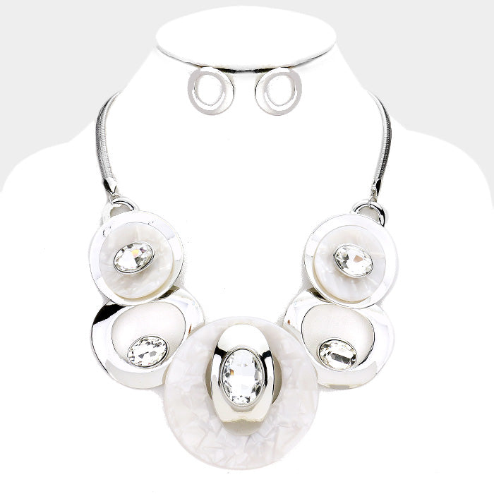 Beautiful White Stone Metal Statement Necklace (NEW)