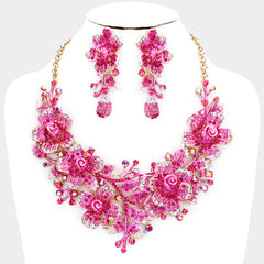 "Beautiful Marquise Pink Crystal Rose Evening Necklace ""High End"" (NEW)"