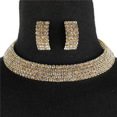 Beautiful Rhinestone Choker Necklace Set (NEW)