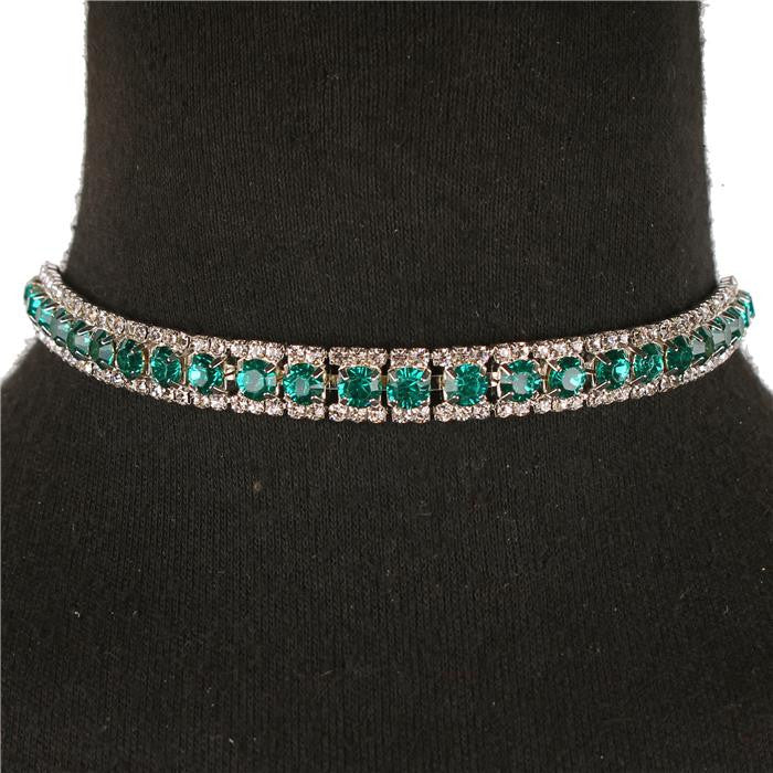 Beautiful Rhinestone Choker Necklace (Pink or Green)