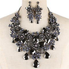 "Beautiful Hematite Crystal Flower Necklace ""High End"""