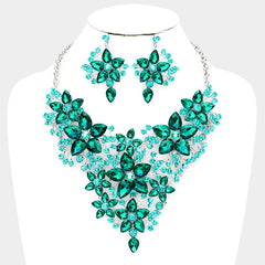 "Beautiful Marquise Emerald Crystal Leaf Bib Evening Necklace & Earrings Set ""High End"""