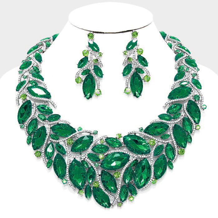 Beautiful Emerald Crystal Marquise Petal Evening Necklace Set, New