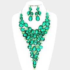 Beautiful Crystal Teardrop Cluster Vine AKA Bib Evening Necklace