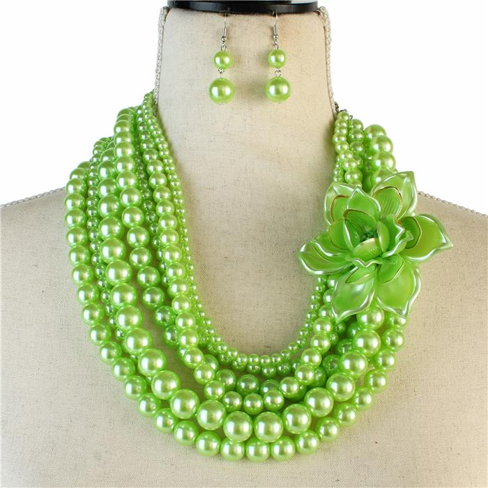 Beautiful Green Rose Pearl Necklace Set, New