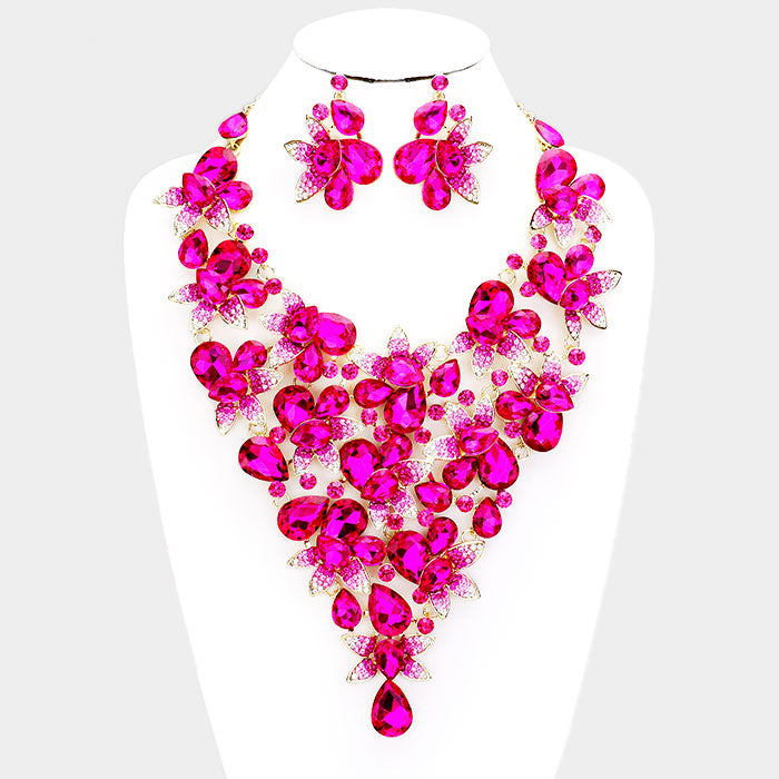 Beautiful Crystal Rose & Pearl Teardrop Necklace & Earrings (New/High End, 2019)