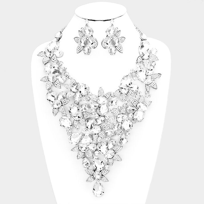 Beautiful Crystal White Rose & Pearl Teardrop Necklace & Earrings (New/High End, 2019)