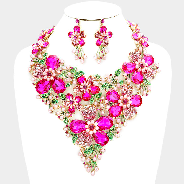 Beautiful Crystal Stone Flower Pearl Statement Bib AKA Necklace Set (High End)