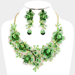 "Beautiful Marquise Emerald Crystal Rose Evening Necklace ""High End"" (NEW)"