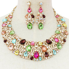 "Beautiful Multicolored Crystal Necklace Set ""High End"""