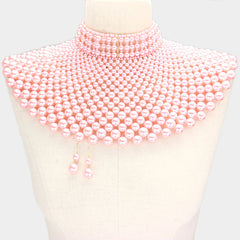 "Beautiful Pink, Pink & Green, Red and Ivory Pearl Bib Choker Necklace ""High End"""
