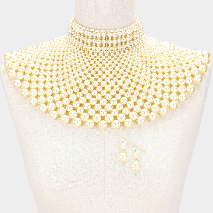 "Beautiful Pearl Bib Choker Necklace ""High End"""