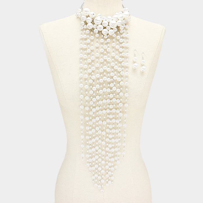 Beautiful White Fringe Pearl Rose Vine Necklace