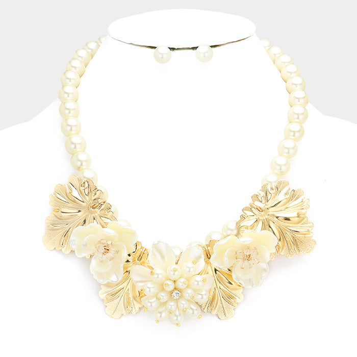Beautiful Pearl Triple White Rose Metal Leaf Bib Necklace