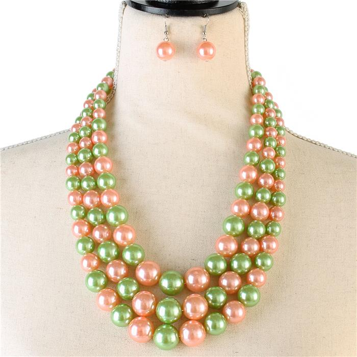 Beautiful Pink and Green Pearl Necklace Set (NEW)