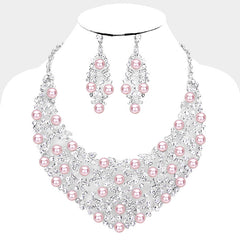 "Pink Pearl Clustered Crystal Bib Necklace Set ""High End"""