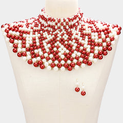 Beautiful GO RED Pearl armor bib choker necklace
