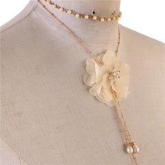 Beautiful Rose Pearl Drop Necklace