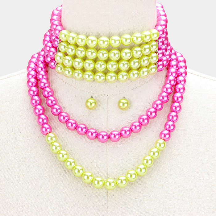 Beautiful Pink & Green Pearl Choker Necklace & Earrings