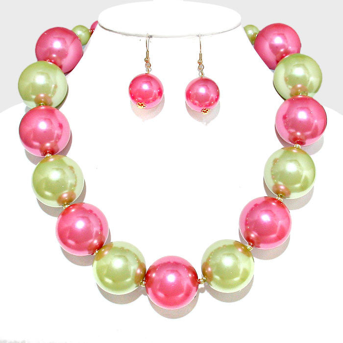 Beautiful Pink & Green Chunky Pearl Strand Necklace & Earrings