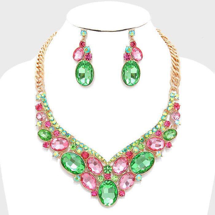 Beautiful AKA Pink & Green Crystal Necklace Set