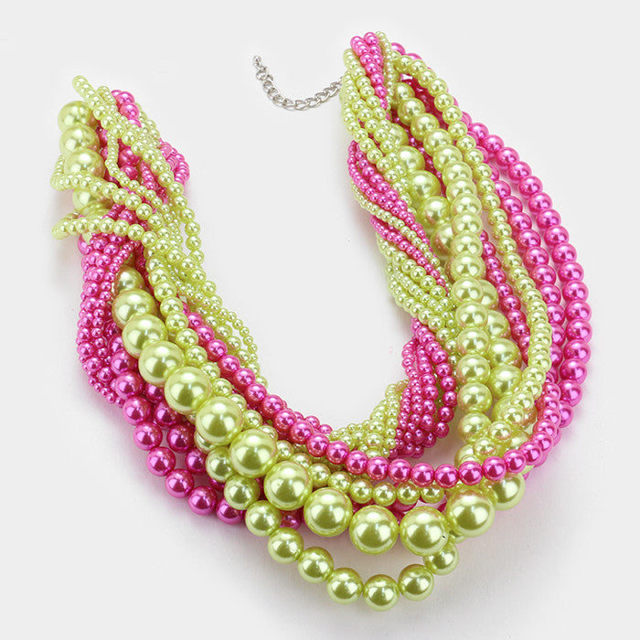 Beautiful Pink & Green High End Multi Strand Faux Pearl Necklace & Earrings