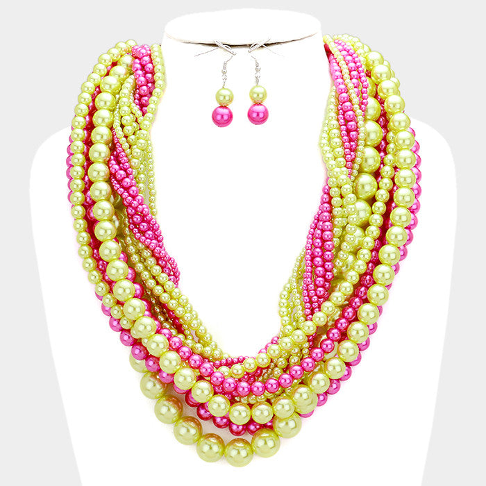 multi rhinestones strand stone with product surrounded pink necklace by pearl cream white tear faux drop