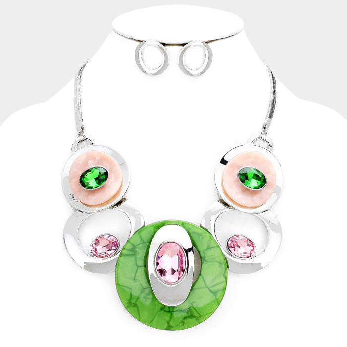 Beautiful Pink & Green Stone Metal Statement Necklace (NEW)