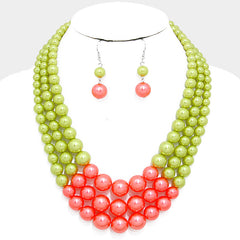 Beautiful Multi-strand Pink & Green Pearl Bead Necklace