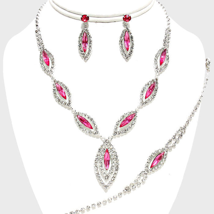 Beautiful Pink Marquise Crystal Jewelry Set